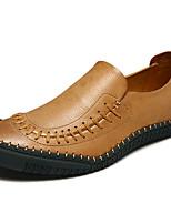 Коричневый Хаки-Для мужчин-Для прогулок Повседневный Для занятий спортом-Кожа-На плоской подошве-Удобная обувь-Мокасины и Свитер