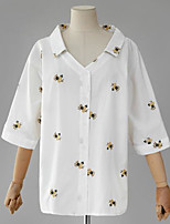 Women's Casual/Daily Simple Blouse,Floral V Neck Long Sleeve Cotton