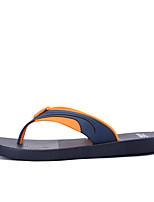 Men's Slippers & Flip-Flops Summer Light Soles PU Casual Split Joint Light Green Red Orange Walking