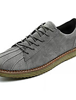 Men's Sneakers Comfort Suede Spring Fall Casual Walking Comfort Split Joint Flat Heel Black Gray Khaki 2in-2 3/4in