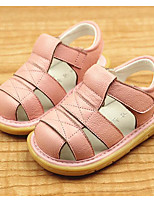 Girls' Baby Flats First Walkers Cowhide Spring Fall Casual Outdoor Walking First Walkers Magic Tape Low HeelWhite Blushing Pink Light