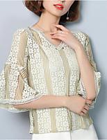 Damen Solide Sexy Einfach Lässig/Alltäglich T-shirt,V-Ausschnitt Frühling Sommer ½ Länge Ärmel Polyester Mittel
