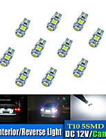 10шт t10 5 * 5050 smd tabula раса декодирование светодиодная лампа автомобиля белый свет dc12v