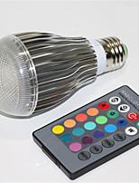 5W E27 Lâmpada Redonda LED A60(A19) 1 LED Integrado 500 lm RGB Regulável Controle Remoto Decorativa AC 85-265 V 1 pç