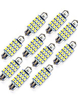 10pcs 39mm 16 * 2835 smd levou a luz branca do bulbo da luz do carro dc12v
