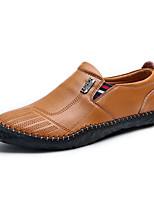 Черный Коричневый Хаки-Для мужчин-Для прогулок Повседневный Для занятий спортом-Кожа-На плоской подошве-Удобная обувь-Мокасины и Свитер