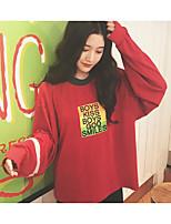 Mujer Simple Casual/Diario Otoño Polo,Escote Redondo Un Color Manga Larga Algodón Opaco