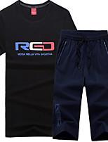 Муж. Бег Лето Спортивная одежда Спорт в свободное время Хлопок Тонкие Белый Черный Красный Красный/Белый