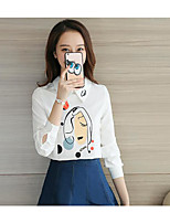 Women's Casual/Daily Simple Shirt,Print Stand Long Sleeve Cotton
