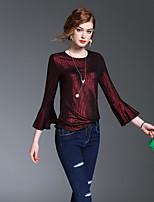 여성 솔리드 라운드 넥 ¾ 소매 티셔츠,빈티지 심플 스트리트 쉬크 데이트 캐쥬얼/데일리 비치 폴리에스테르 봄 가을 중간