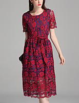 Trapèze Robe Femme Grandes Tailles Sortie simple,Couleur Pleine Col Arrondi Midi Manches Courtes Polyester Eté Taille Normale