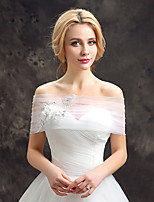 Women's Wedding Wrap Capelets Lace Tulle Wedding Party/Evening Appliques Flower(s) Lace Rhinestone Grace Bride Shawl White Off-the-shoulder