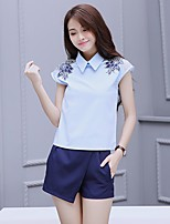 Women's Casual/Daily Simple T-shirt Skirt Suits,Solid Shirt Collar Short Sleeve