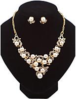 Set de Bijoux Boucles d'oreille goujon Collier Mode euroaméricains Perle Alliage Forme de Fleur PourMariage Soirée Occasion spéciale