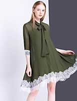 Women's Going out Casual/Daily Cute A Line Dress,Color Block Asymmetrical Knee-length ½ Length Sleeve Polyester Summer Mid Rise Inelastic