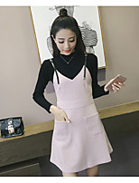 Women's Casual/Daily Street chic Sophisticated Fall Tank Top Dress Suits,Solid Round Neck Long Sleeve Cotton Rayon