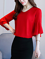 Women's Casual/Daily Simple Summer Blouse,Solid V Neck Short Sleeve Cotton Opaque