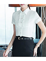 Women's Casual/Daily Simple Shirt,Solid Shirt Collar Short Sleeve Polyester Thin