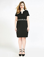 Women's Plus Size Casual/Daily Party Sexy Vintage Simple Shift Sheath Lace Dress,Solid V Neck Midi Short Sleeve Polyester SpandexAll