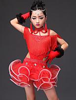 Latin Dance Dresses Kid's Performance Viscose Crystals/Rhinestones Tassel(s) 5 Pieces Sleeveless Dress Gloves Neckwear Shorts
