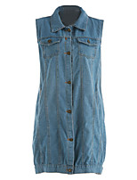 Women's Going out Casual/Daily Active Summer Fall Denim Jacket,Striped Shirt Collar Sleeveless Regular Others