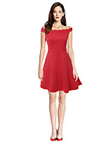 Women's Going out Party Holiday Sexy Vintage Cute A Line Dress,Solid Boat Neck Mini Sleeveless Polyester All Seasons High Rise