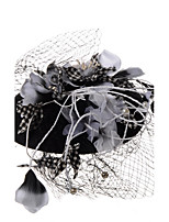Plume Lin Filet Casque-Mariage Occasion spéciale Coiffure Voile de cage à oiseaux