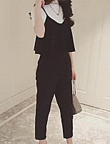 Women's Going out Casual/Daily Work Simple Cute Punk & Gothic T-shirt Pant Suits,Solid Round Neck