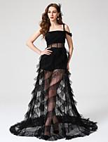 TS Couture® Evento Formal Vestido - Elegante Linha A Quadrado Longo Tule com Pregas