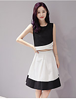 Women's Casual/Daily Simple Tank Top Skirt Suits,Color Block Round Neck Sleeveless