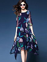 Women's Plus Size Going out Street chic Loose Dress,Floral Round Neck Asymmetrical ½ Length Sleeve Nylon Summer Mid Rise Micro-elastic