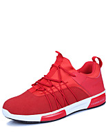 Men's Sneakers Spring Summer Comfort PU Outdoor Athletic Casual Flat Heel Lace-up Black/Red Red Black