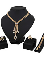 Jewelry Set Euramerican Fashion Classic Rhinestone Zinc Alloy Square 1 Necklace 1 Pair of Earrings 1 Bracelet Rings ForWedding Party