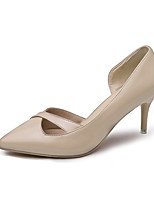 Women's Heels Spring Summer Fall Comfort PU Office & Career Dress Stiletto Heel Pink Beige Black