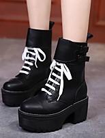 Черный-Для женщин-Повседневный-ПолиуретанУдобная обувь-Сандалии