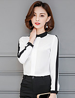 Women's Going out Casual/Daily Holiday Sexy Simple Cute All Seasons Summer Blouse,Solid Shirt Collar Long Sleeve Rayon Thin