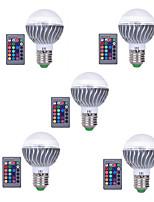 3W E27 Lâmpada Redonda LED A60(A19) 1 LED Integrado 300 lm RGB Regulável Controle Remoto Decorativa AC 85-265 V 5 pçs