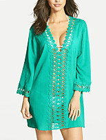 Women's Going out Beach Simple Sophisticated All Seasons Blouse,Solid Deep V ¾ Sleeve Rayon