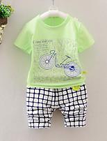 Мальчики Наборы На выход На каждый день Спорт Хлопок С принтом Пэчворк Лето С короткими рукавами Набор одежды