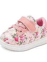 Girls' Baby Flats First Walkers Synthetic Spring Fall Casual First Walkers Flat Heel White Black Blushing Pink Flat