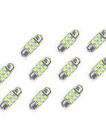 10Pcs 31mm 6*2835 Patch LED Car Light Bulb Warm Light DC12V