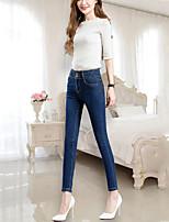 Feminino Moda de Rua Cintura Alta Com Elástico Jeans Calças,Delgado Cor Única