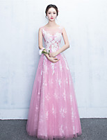 Formal Evening Dress - Color Block A-line Jewel Floor-length Tulle with Appliques