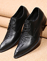 Men's Oxfords Spring Fall Formal Shoes Comfort Novelty Leather Wedding Office & Career Party & Evening Flat Heel Lace-up Black Walking