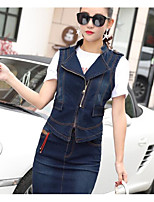 Women's Casual/Daily Simple Shirt Pant Suits,Solid Round Neck