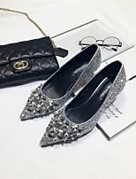 Черный Серебряный-Для женщин-Повседневный-ПолиуретанУдобная обувь-Сандалии