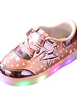 Girls' Athletic Shoes Spring Summer Comfort PU Athletic Casual Flat Heel LED Lace-up Blushing Pink Silver Gold