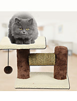Cat Toy Pet Toys Interactive Scratch Pad Durable Wood Plush Coffee