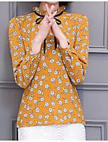 Для женщин На выход Нарядная Праздник Весна Лето Блуза Вырез под горло,Винтаж Уличный стиль Однотонный С принтом Длинный рукав,Другое,