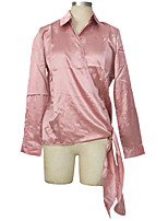 Women's Going out Casual/Daily Street chic Spring Summer Shirt,Solid V Neck Long Sleeve Polyester Others Medium